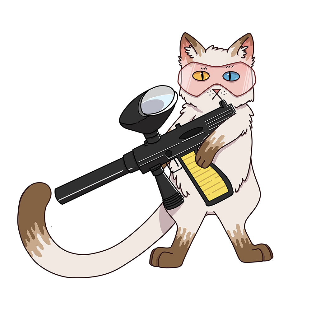 Illustration of a Cat with a Paintball Gun for Area 53 NYC