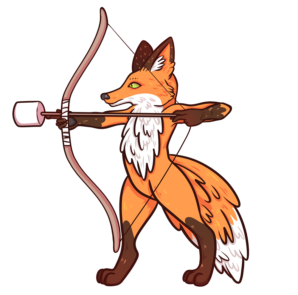 Illustration of a fox with an indoor archery bow for Area 53 NYC
