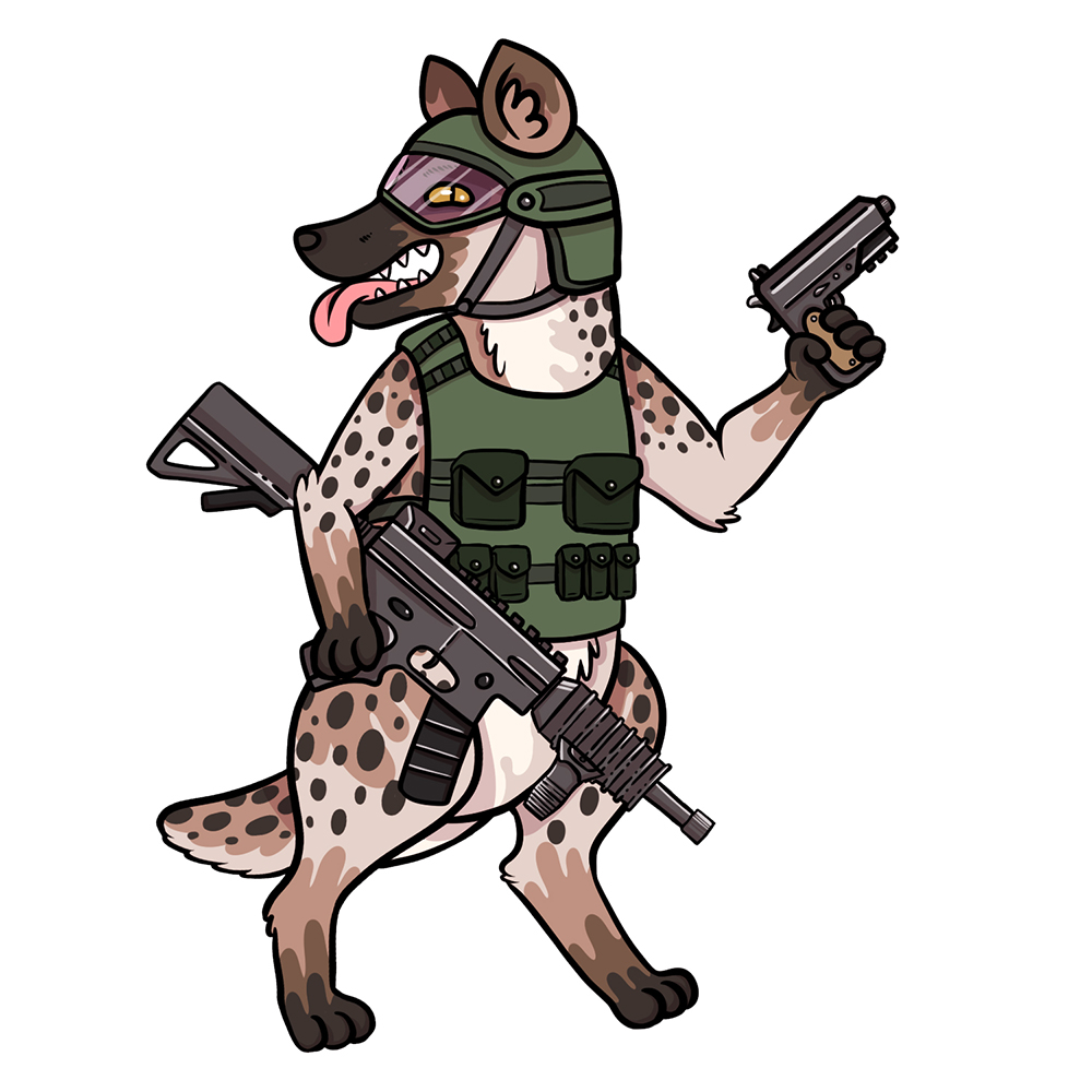 Illustration of a hyena with airsoft guns for Area 53 NYC