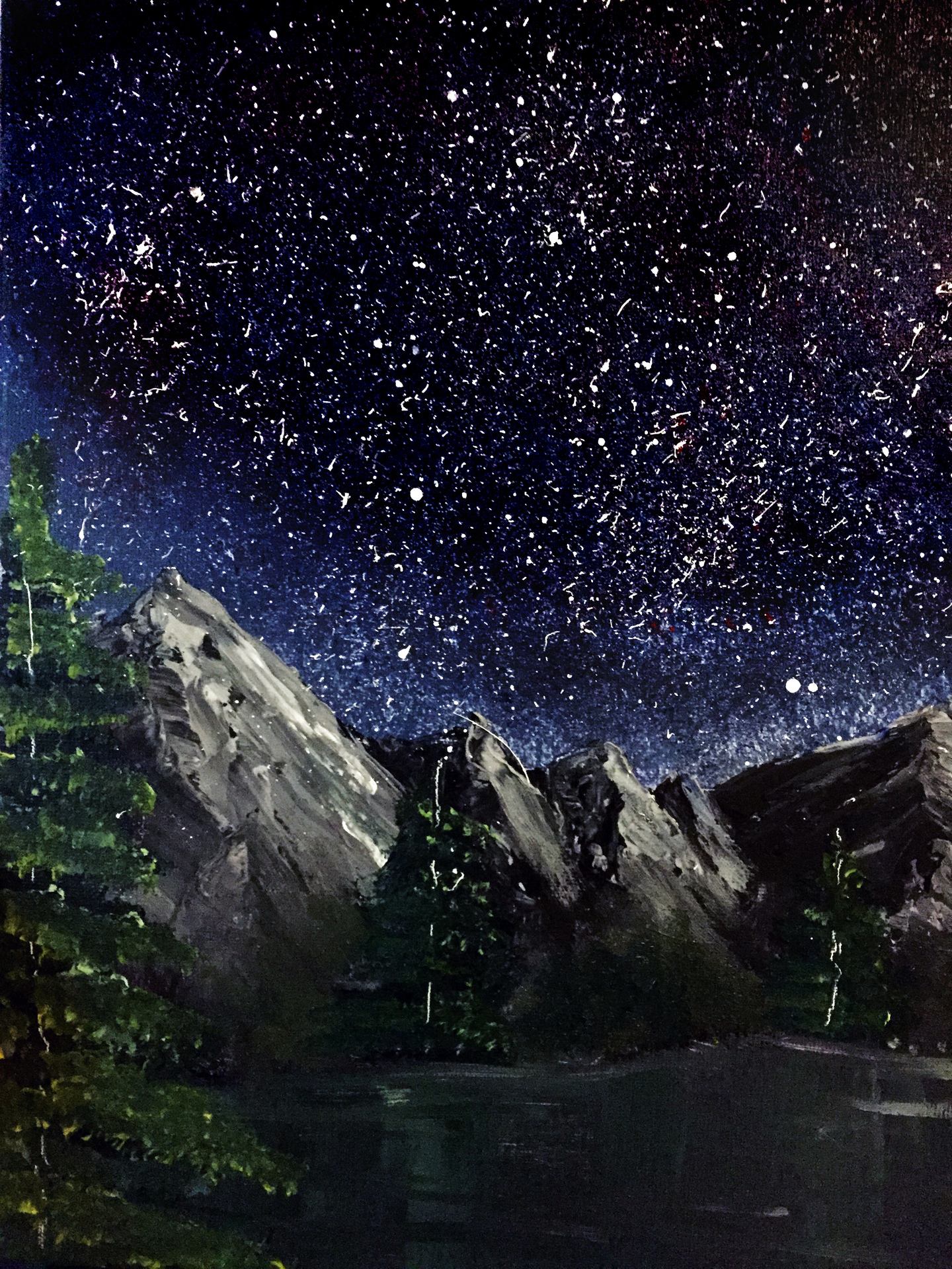 A nighttime landscape inspired by Bob Ross