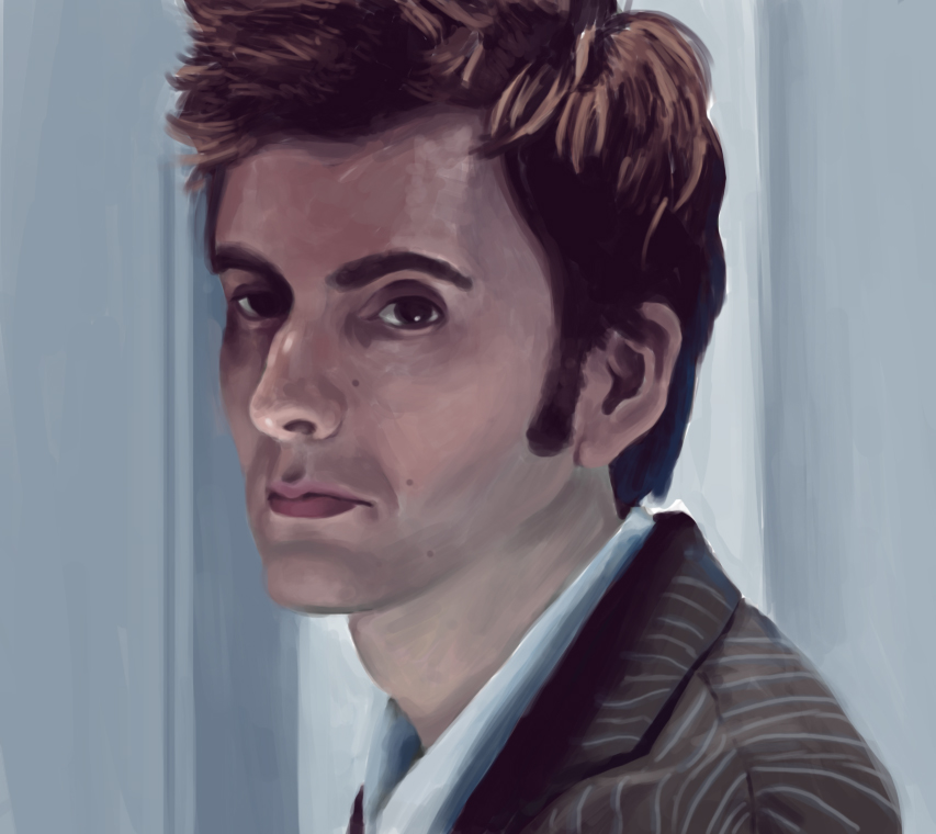 Digital painting of David Tennant in a realistic style