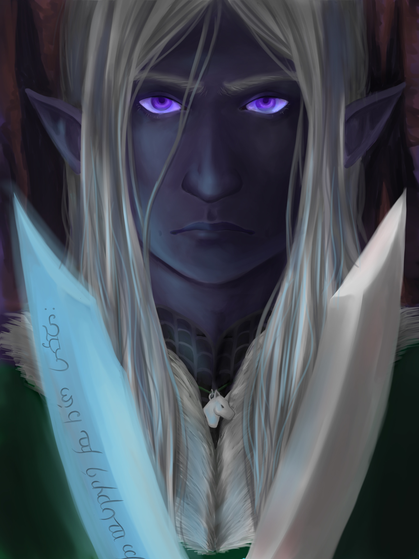 Digital painting of Drizzt D'Urden from the Legend of Drizzt
