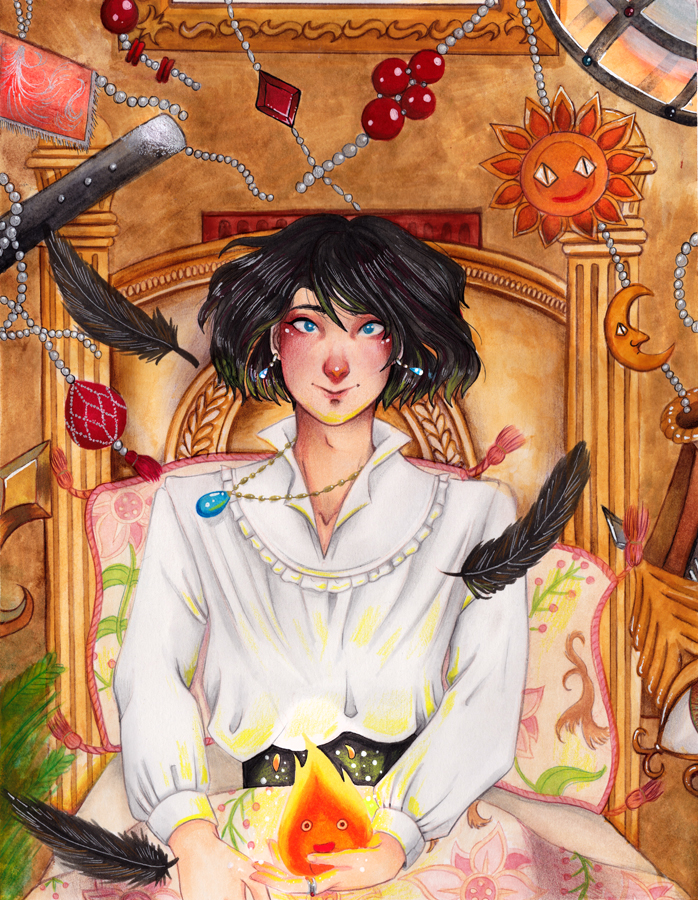 Howl from Howl's moving Castle - a traditional illustration