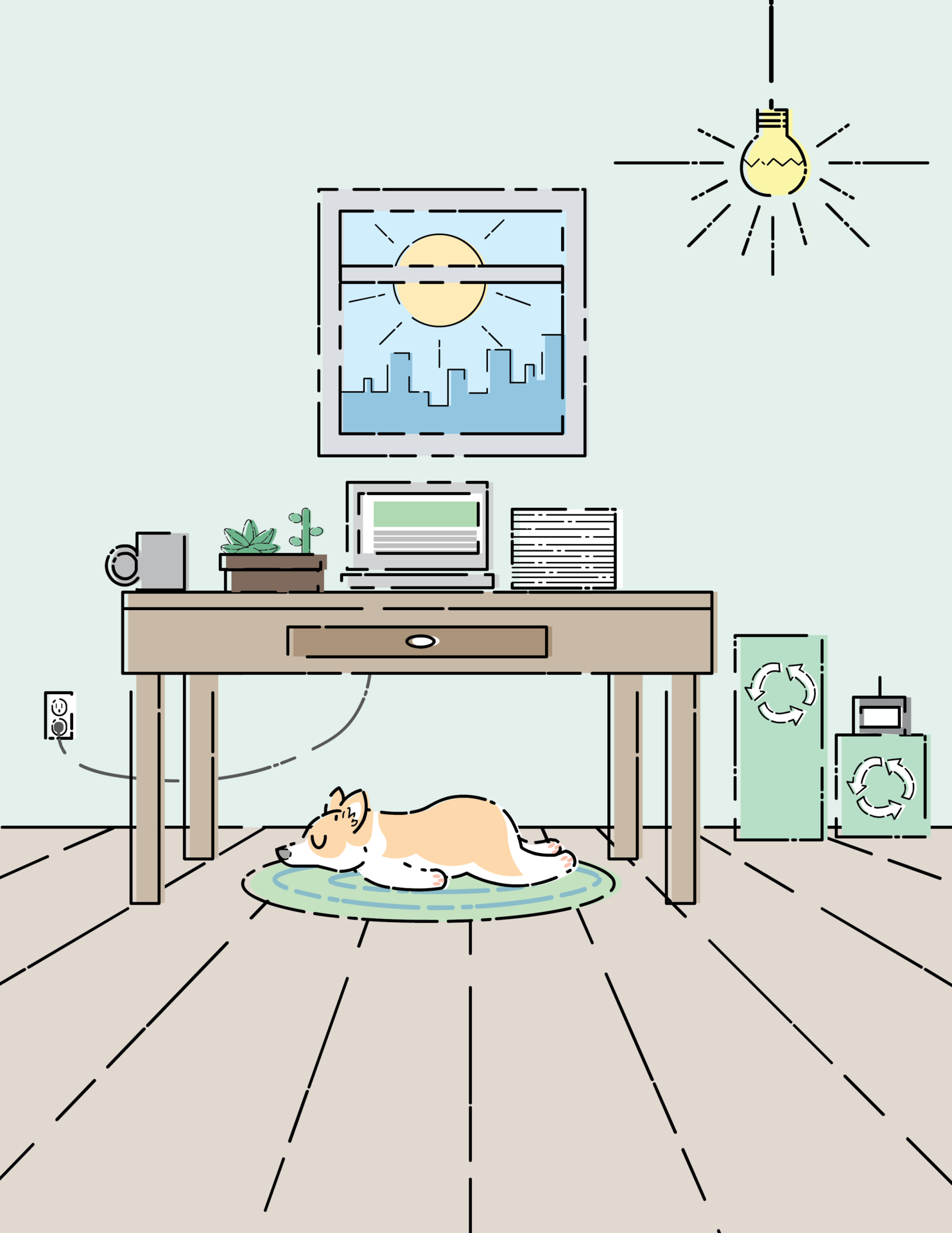 Full Page office illustration with a dog in it