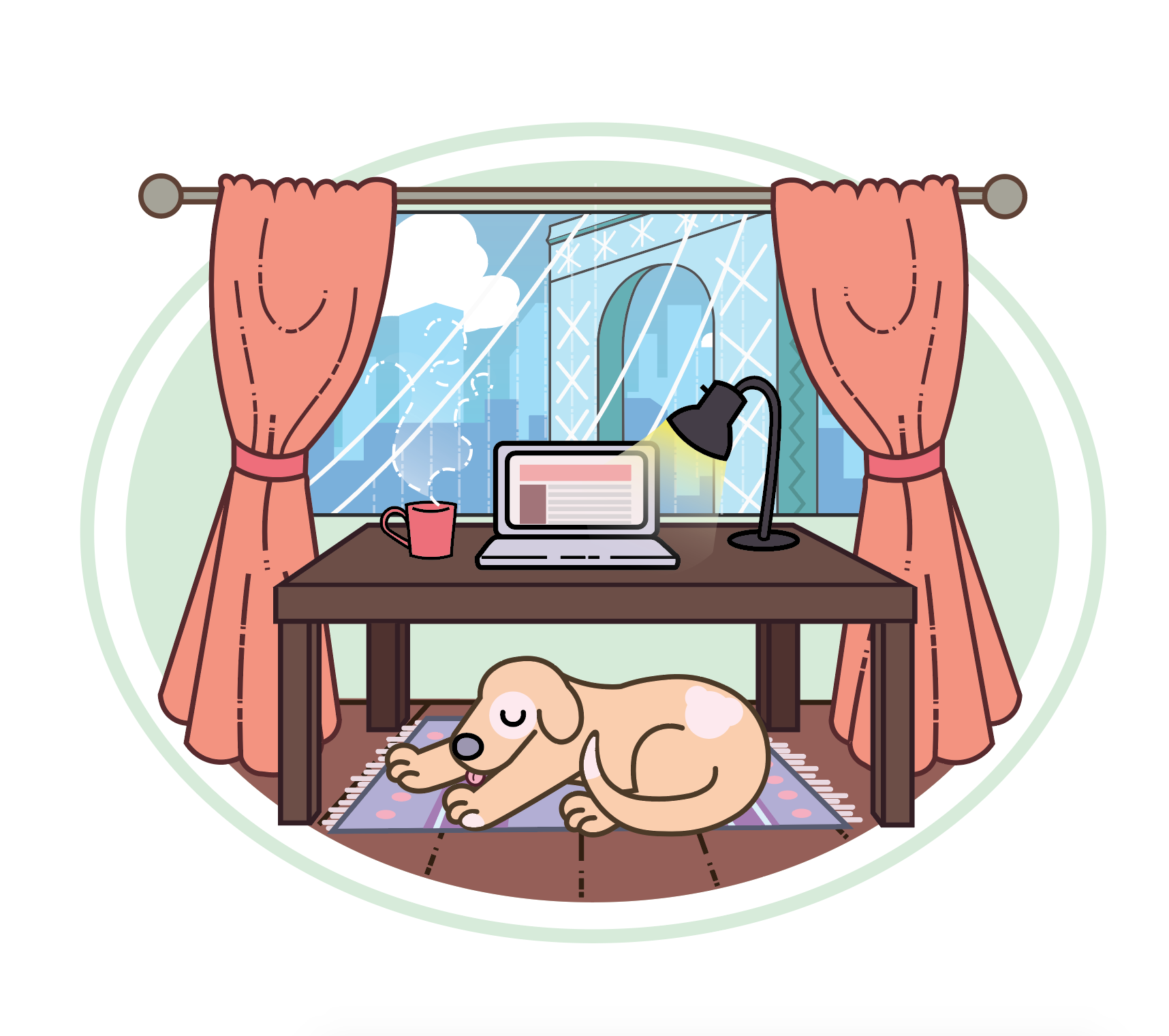 A illustration of an office space with a dog in it