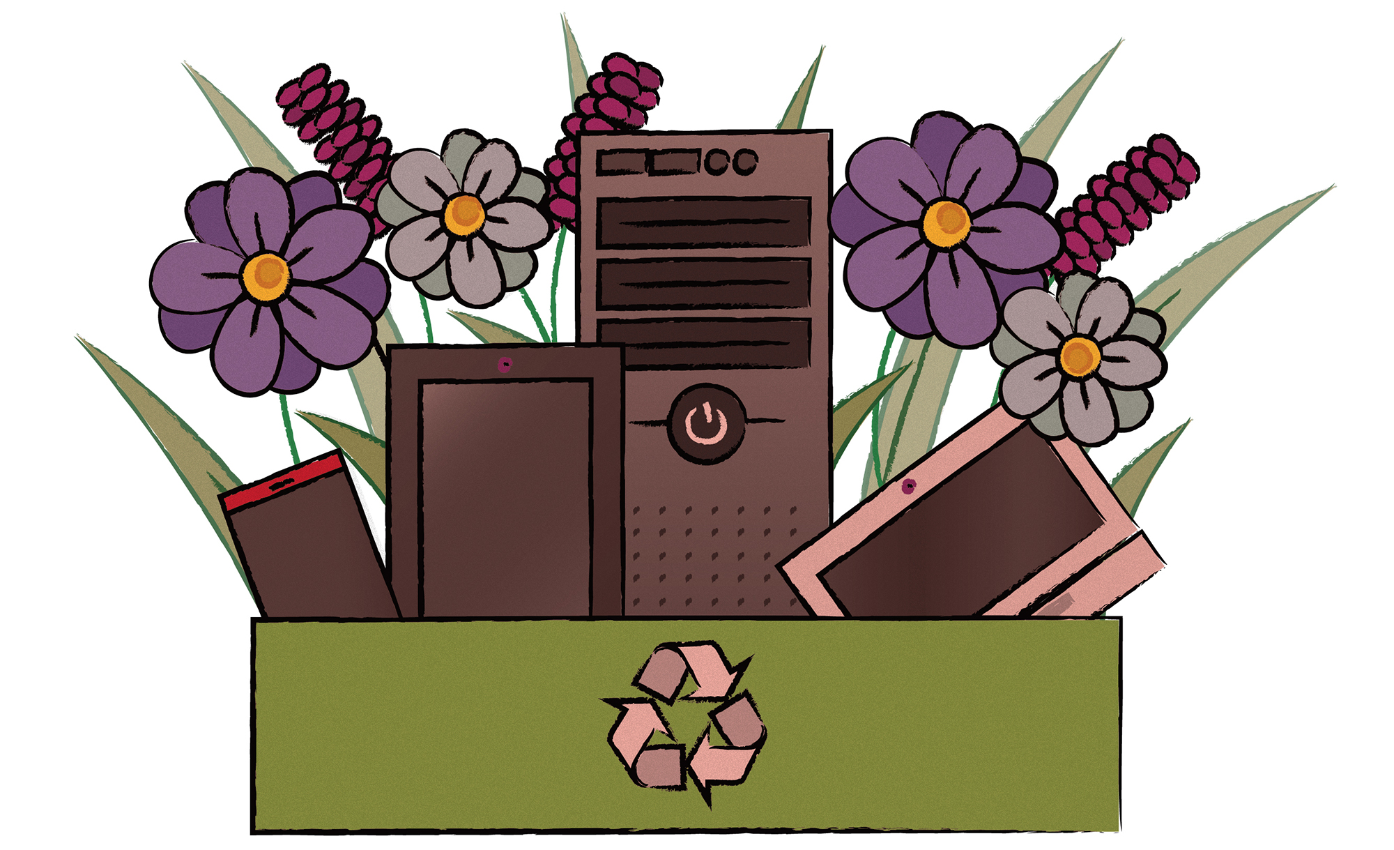 Box of recycled electronics with flowers and plants in it