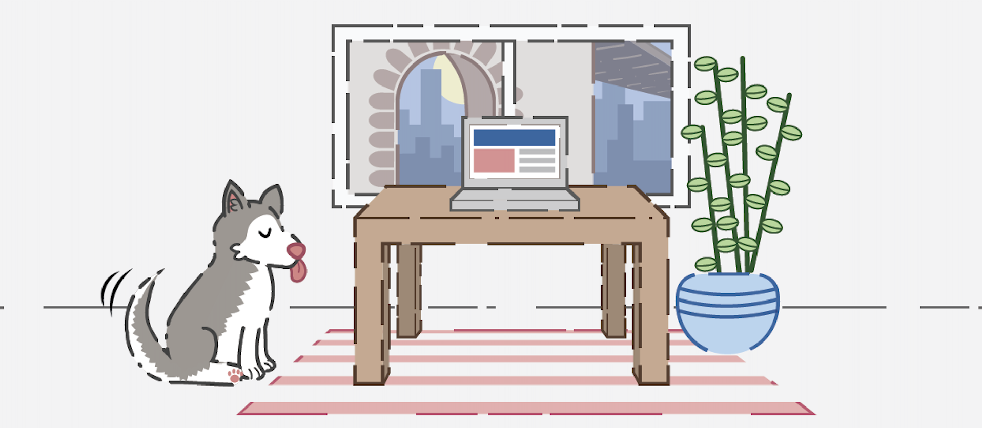 Office illustration with a dog and a plant in it
