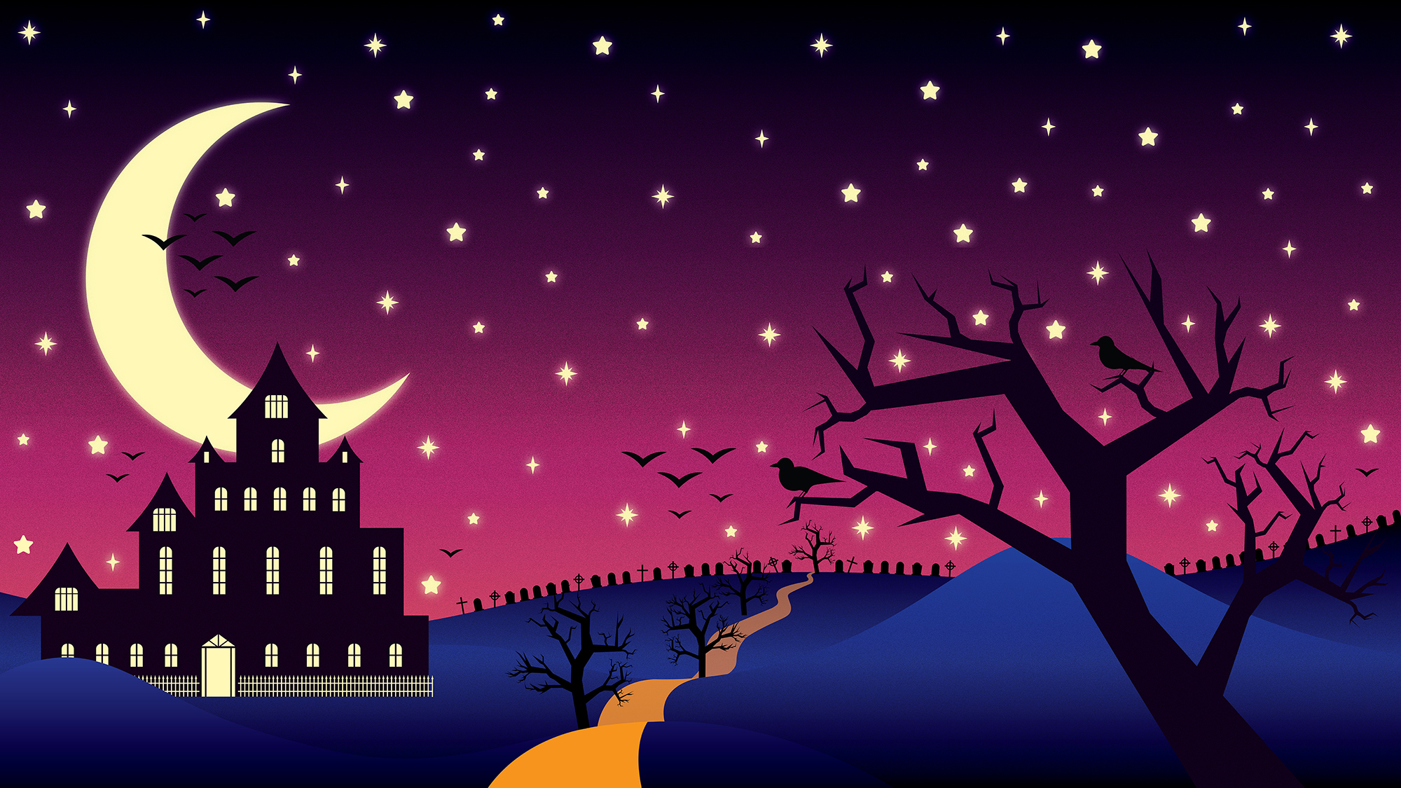 Halloween Picture with a spooky house, and stars