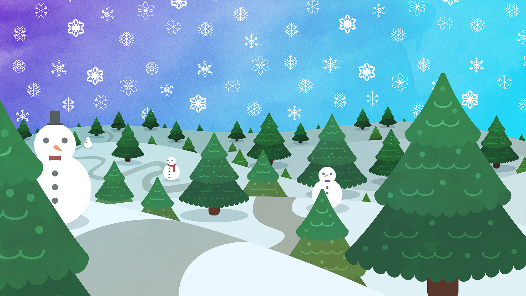 Wintery landscape with trees and snowmen