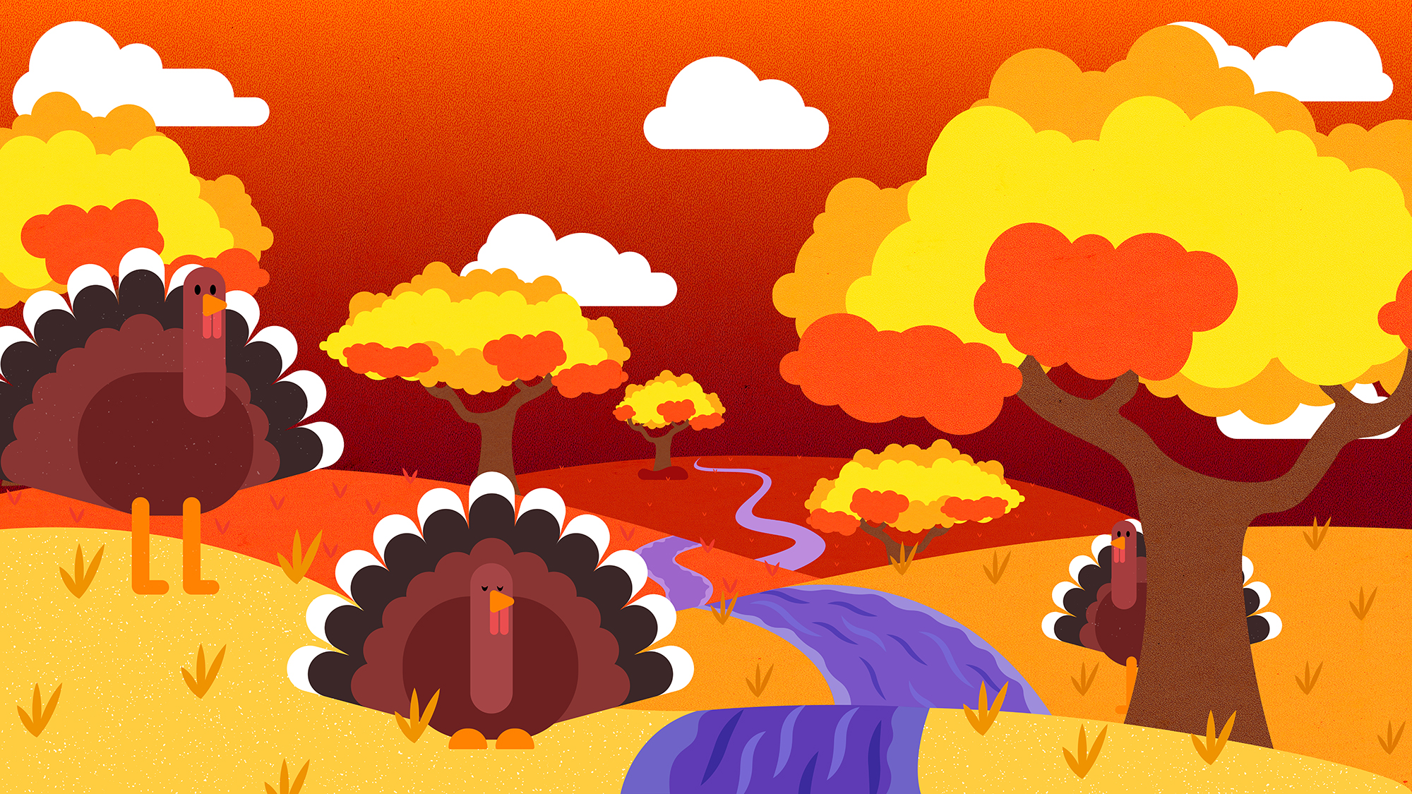 Fall landscape with trees in bright colours and turkeys