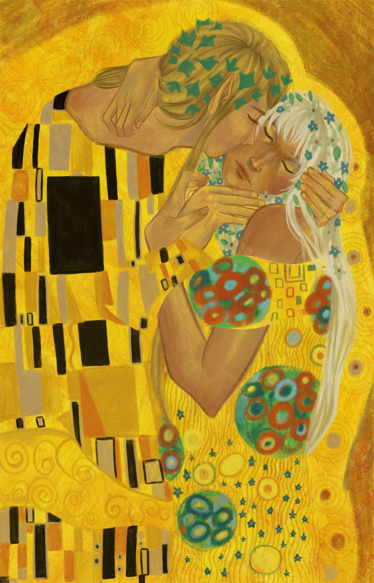 Style portrait of the Kiss by Klimpt--but with original characters