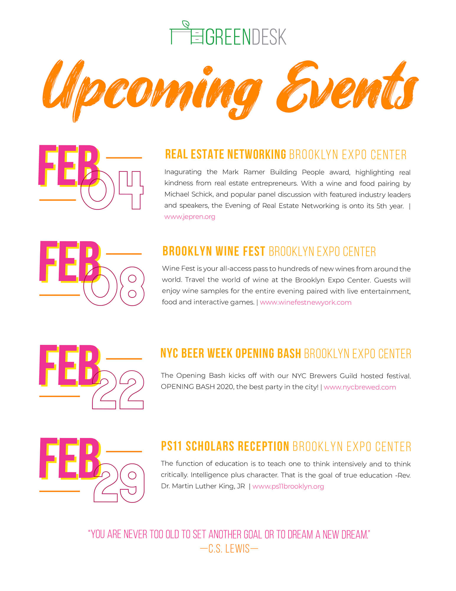 Upcoming Events Feb Flier