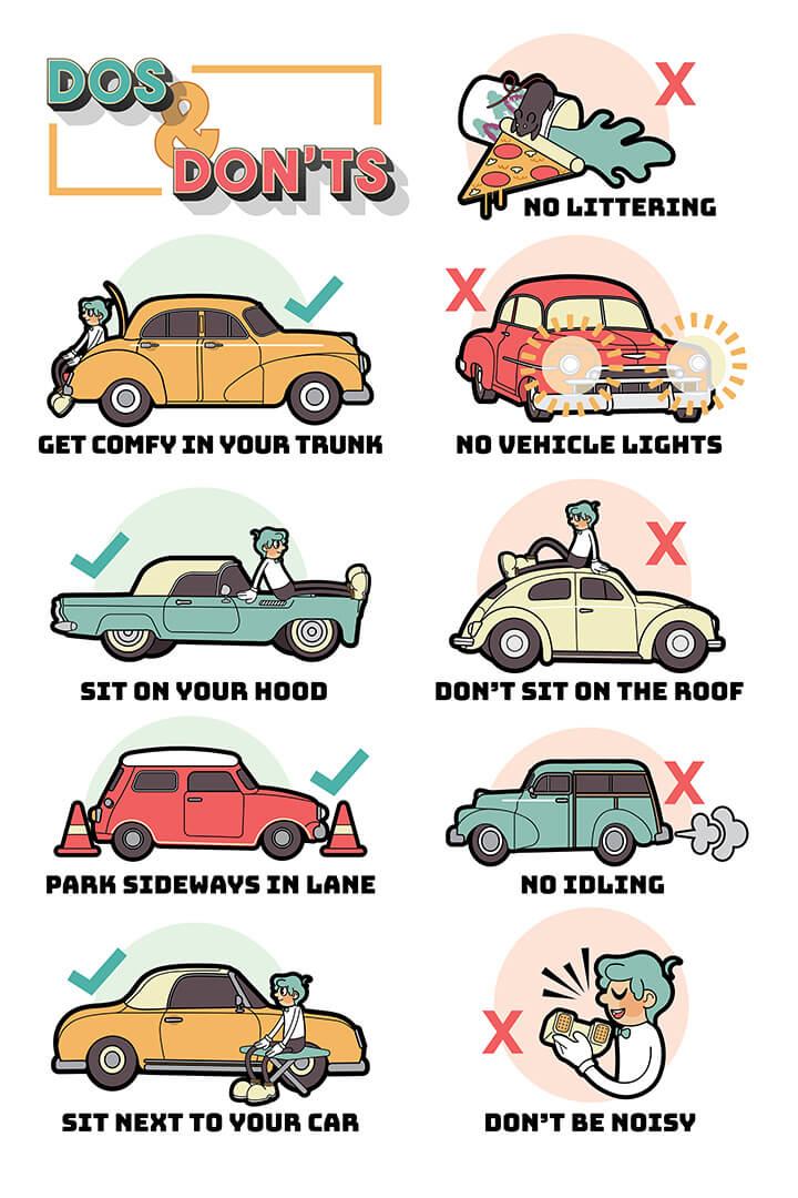 Dos and Don'ts Sign Now with vintage cars!